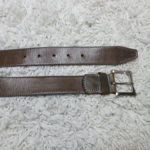 Andrea D'Amico brown leather belt with blue stitch